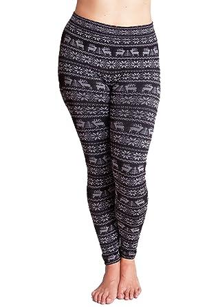 5cefd140429c Black Ladies Plus Size Reindeer Snowflake Holiday Print Leggings at Amazon  Women's Clothing store: