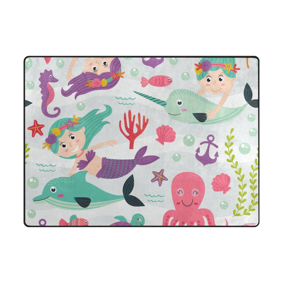 Vantaso Soft Foam Area Rugs Girls Mermaid Octopus Whale Non Slip Play Mats for Kids Boys Girls Playing Room Living Room 63x48 inch by Vantaso