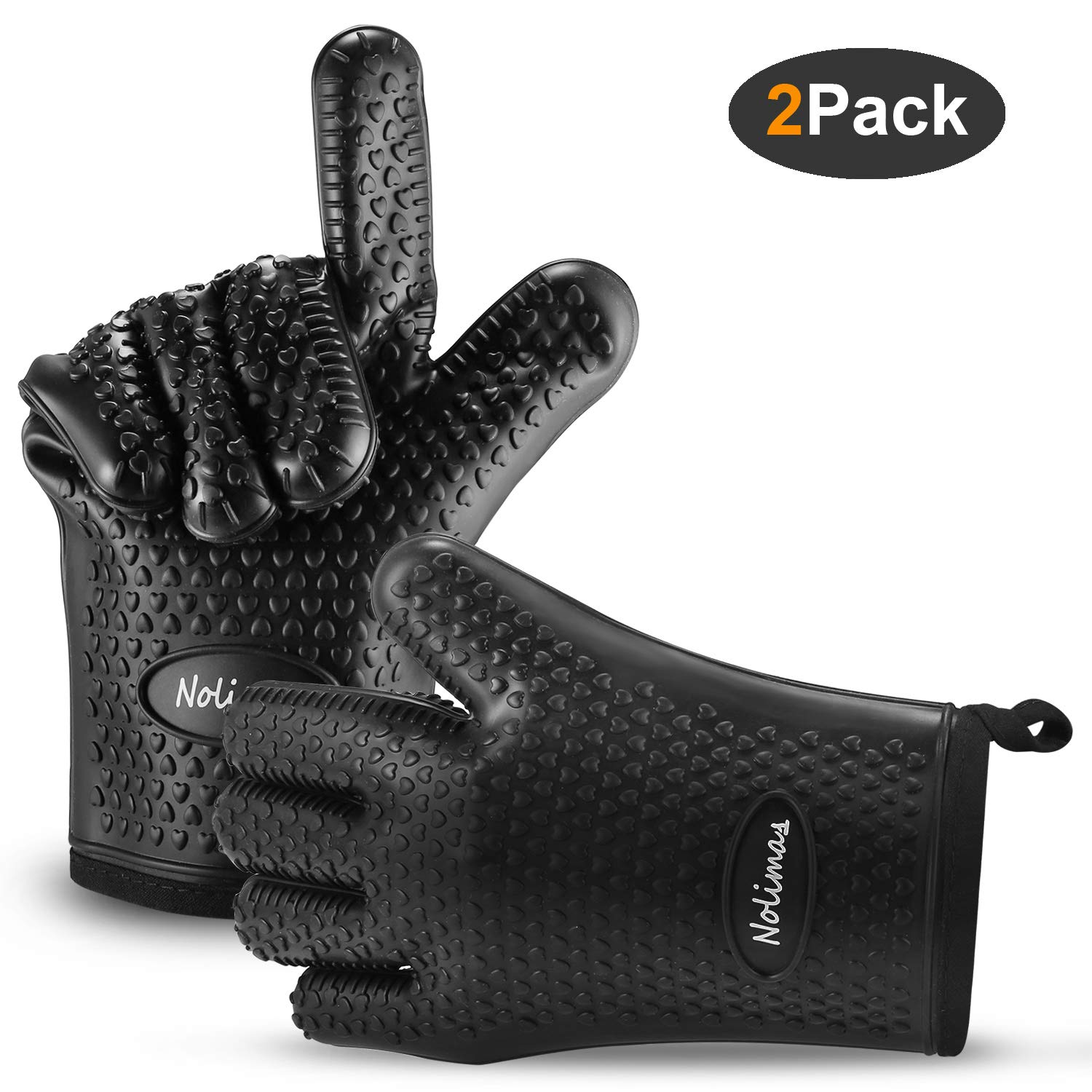 Nolimas Silicone Cooking Grilling Gloves,Heat Resistant Oven Mitt for Baking,BBQ,Kitchen,Waterproof Non-Slip Potholders with Inner Cotton Layer, Safe Handling of Pots and Pans,Black,1Pair