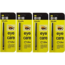 ADS EYECARE KAJAL PENCIL, 12 HOUR. EXTRA BLACK. LONG LASTING. WATER PROOF. KAJAL (PACK OF FOUR) at amazon