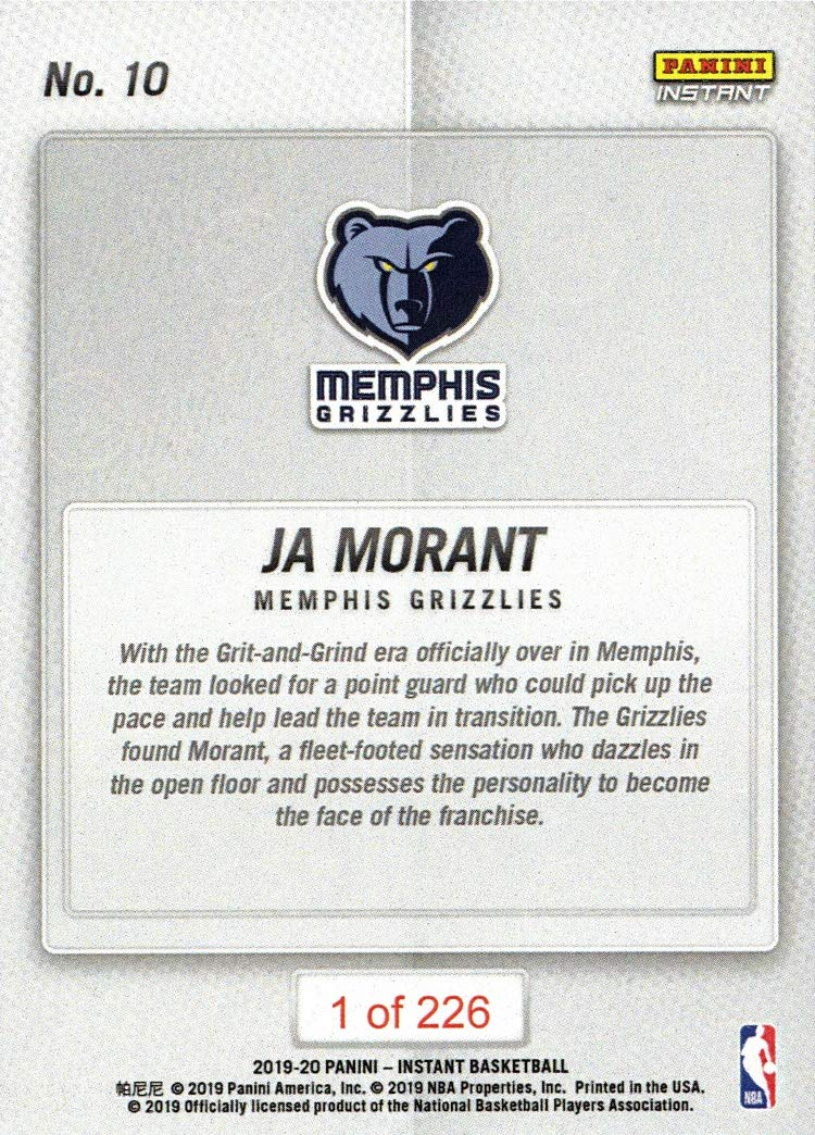 2019-20 Panini Instant Basketball #10 Ja Morant Rookie Card Grizzlies Only 226 made!