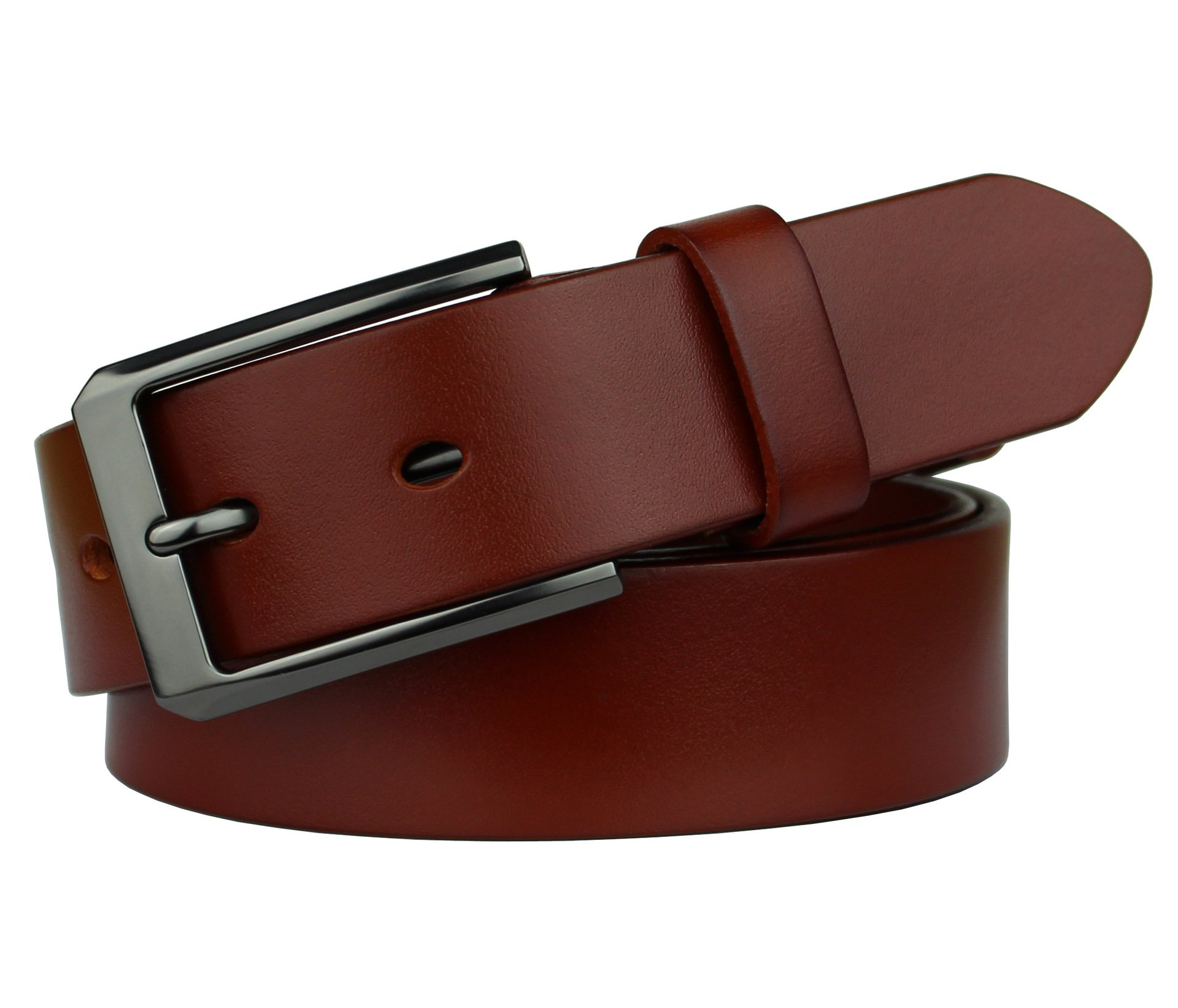 Bullko Mens Dress Belt Classic Casual Genuine Leather 1.25'' Wide Orange 34-36