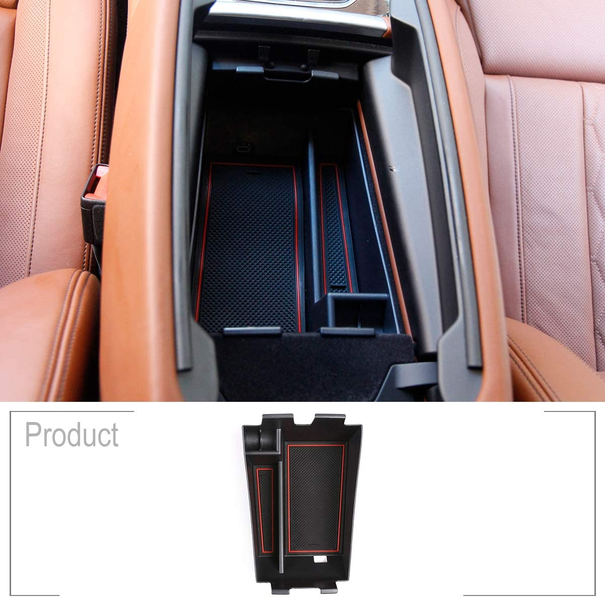 TongSheng for BMW X5 G05 X6 X7 GO7 2019 Armrest Center Console Organizer Tray Accessories with Coin and Sunglasses Holder,Secondary Insert Storage Box