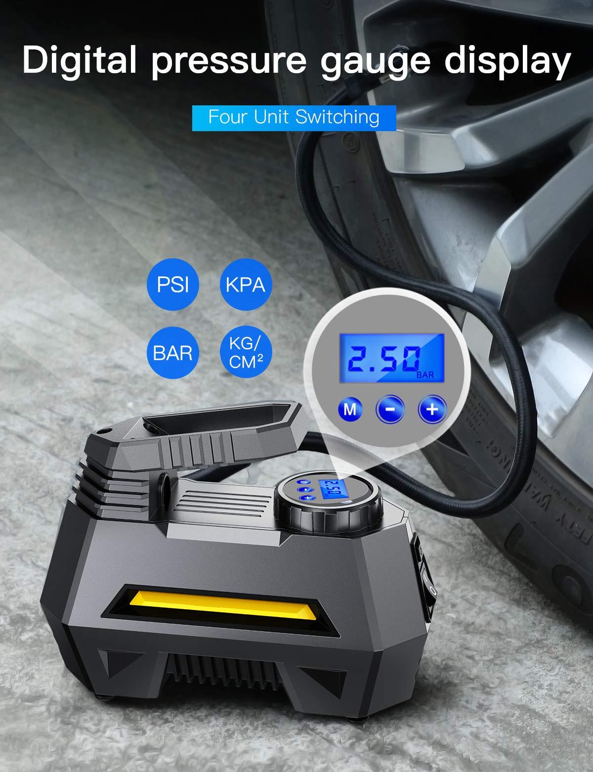 JOYROOM Portable Air Compressor Tire Inflator - Car Tire Pump with Digital Pressure Gauge (150 PSI 12V DC), Bright Emergency Flashlight - for Auto, Trucks, Bicycles, Balls by JOYROOM (Image #1)