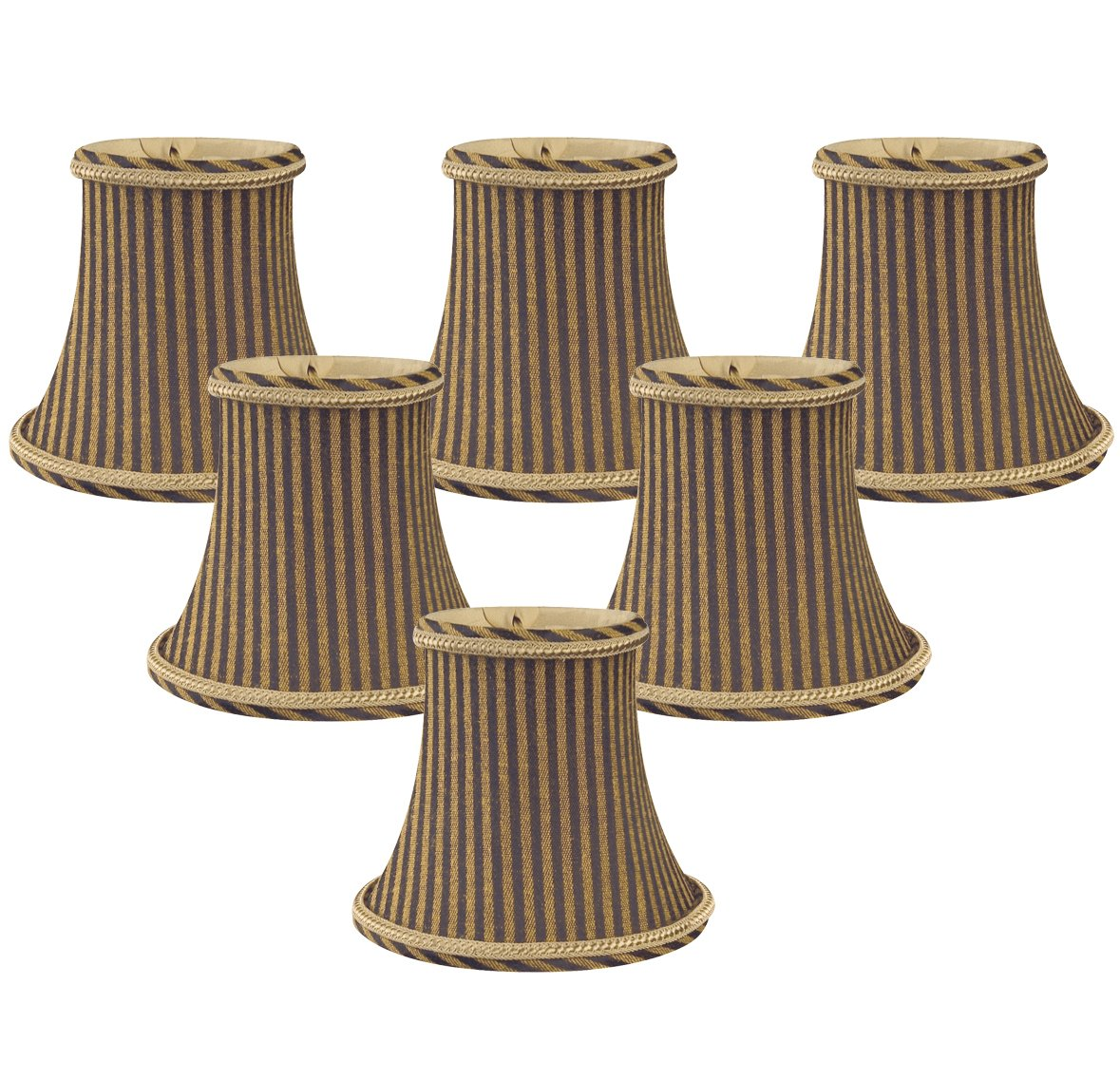 Royal Designs 5'' Black/Antique Gold Striped Chandelier Lamp Shade, Set of 6, 3 x 5 x 4.5 (CS-608AGL/BR-6)