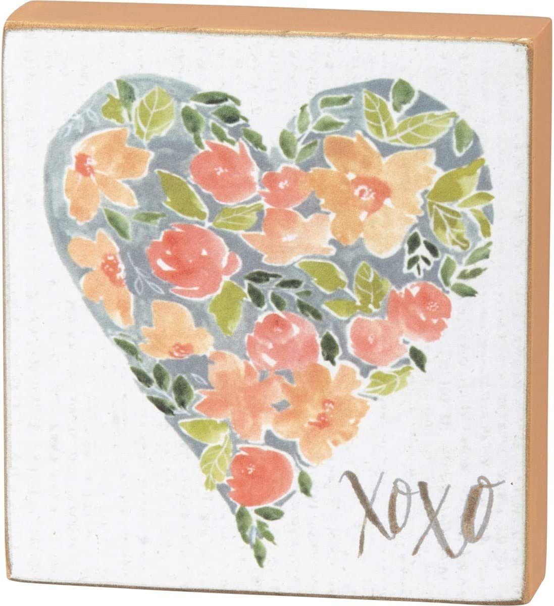 Primitives by Kathy 101911, Block Sign - XOXO and Heart Shaped Floral Design, Multi