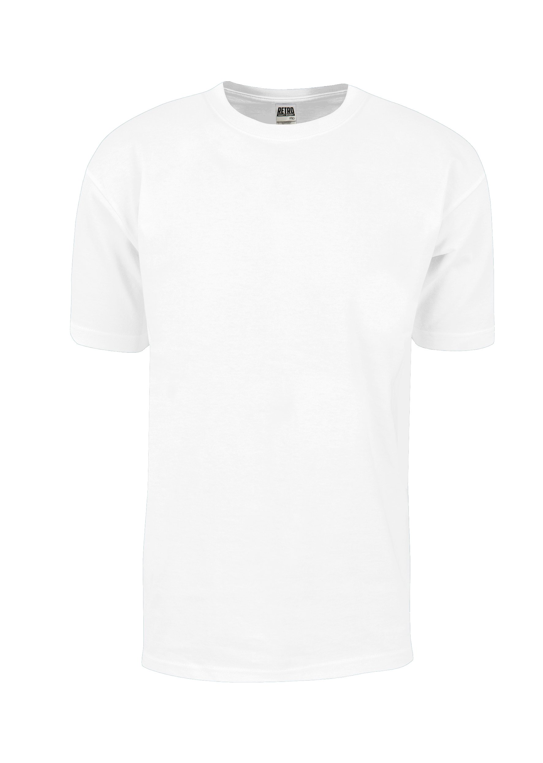 RHS01_M Retro Heavy Weight Cotton Short Sleeve T-Shirt White M