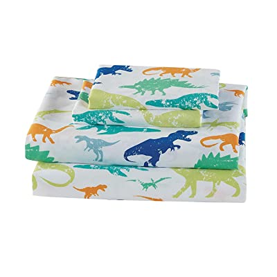 Elegant Homes Green Blue Orange Dinosaur Design Fun 4 Piece Printed Sheet Set with Pillowcases Flat Fitted Sheet for Boys/Kids/Teens (Dinosaurs Green, Queen Size): Home & Kitchen