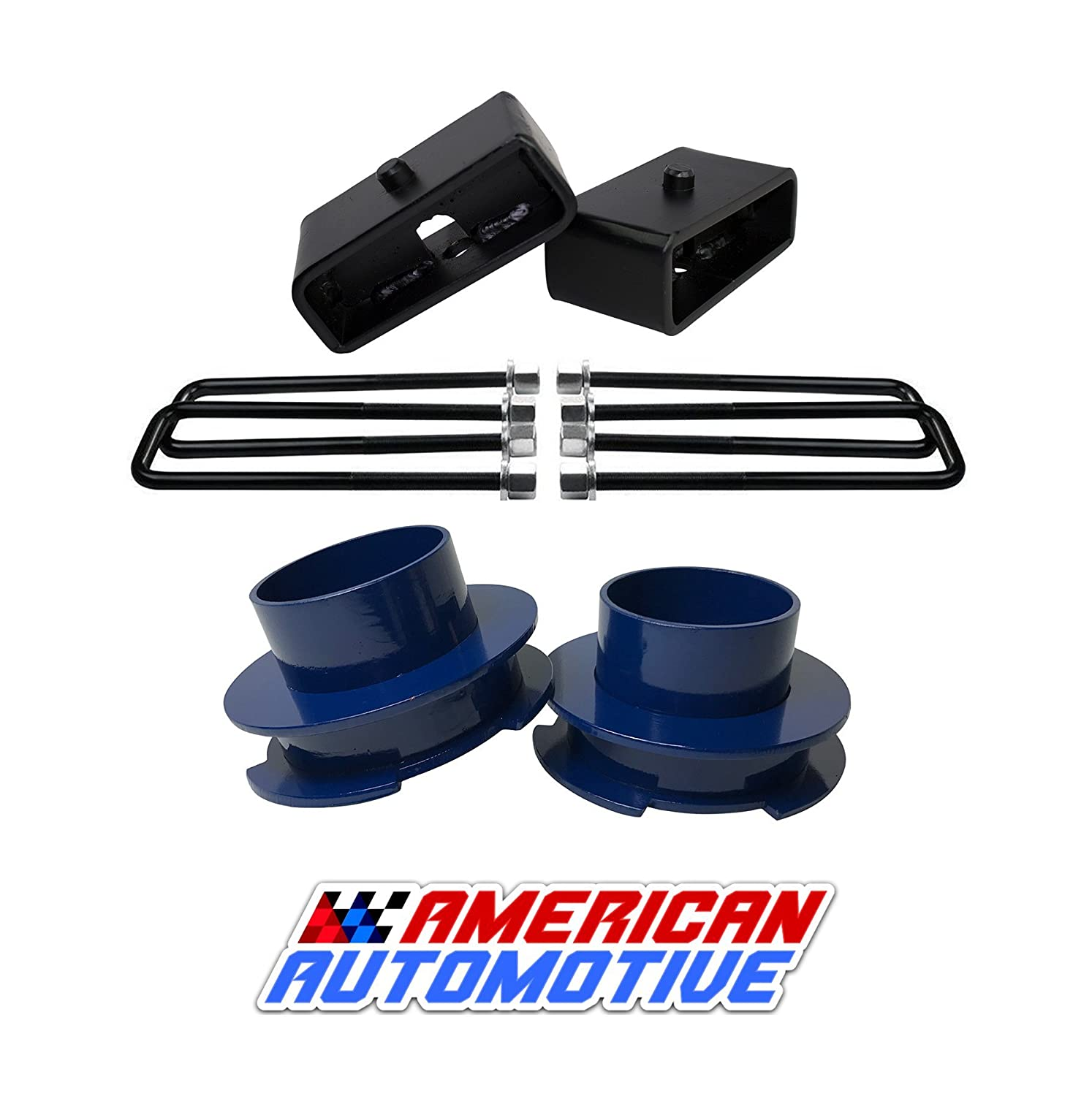 1999-2007 Silverado Lift Kit 2WD 3' Front Spring Spacers + 2' Rear Blocks Made in USA Steel Road Fury TIG Welded American Automotive CS1BK30SB20UBS10-023