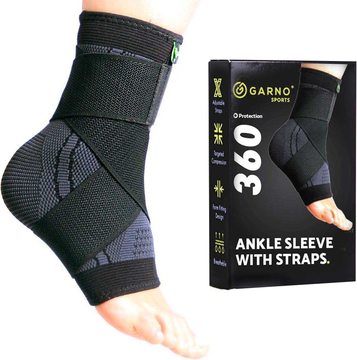 GARNO Ankle Compression Sleeve with Adjustable Straps, Arch Support Brace & Foot Stabilizer, Elastic Wrap for Plantar Fasciitis, Achilles Tendonitis Recovery, Sports Bandage Sock (Single); Men, Women