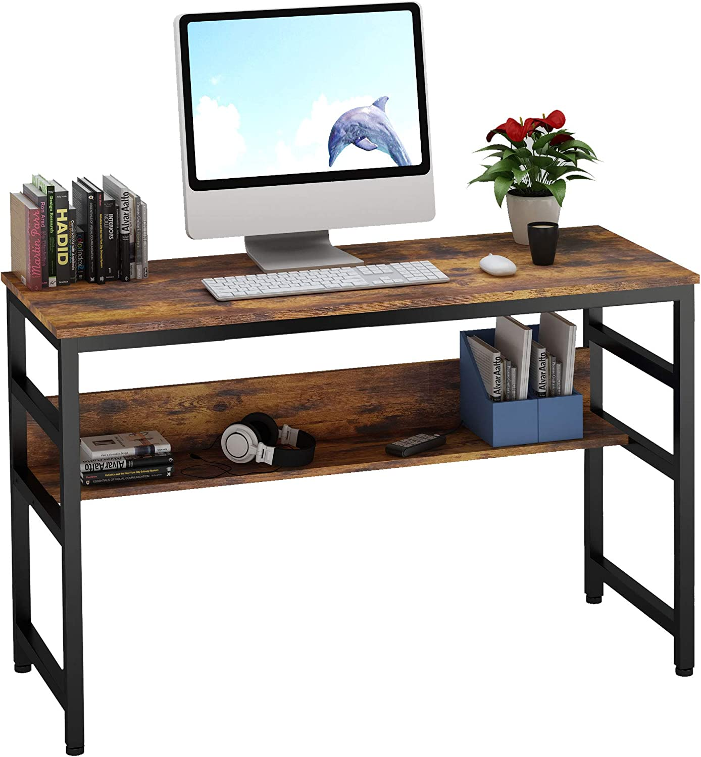 "Ruitta 47"" Writing Computer Desk, Home Office Desk with Bookshelf, Writing Desk Study Writing Table, Stable Wood and Metal Frame, PC Notebook Laptop Table Study Desk (47"", Rustic Brown)"