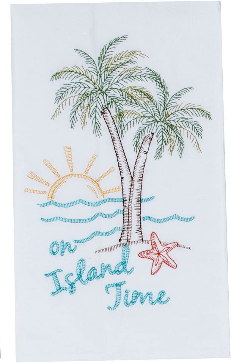 Kay Dee Designs A8555 Palm Tree Embroidered Flour Sack Towel