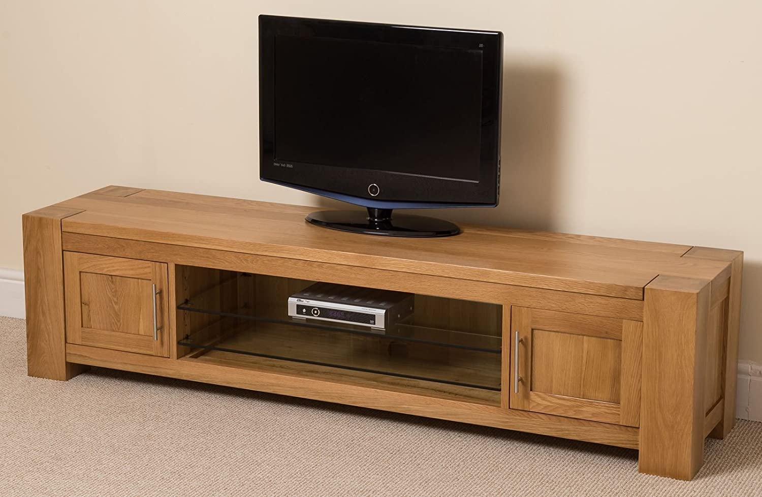 Kuba Chunky Solid Oak Wood Glass Widescreen TV Cabinet Unit 1815 L X 445 H 425 W Cm Amazoncouk Kitchen Home