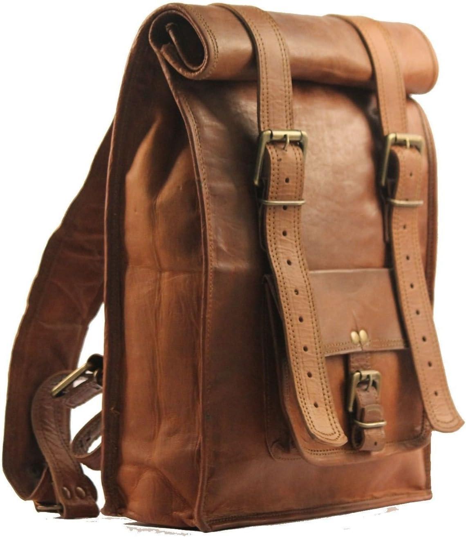 Bolso de la honda de la mochila de la mochila del cuero de la vendimia de los hombres de VH Vintage marrón medio