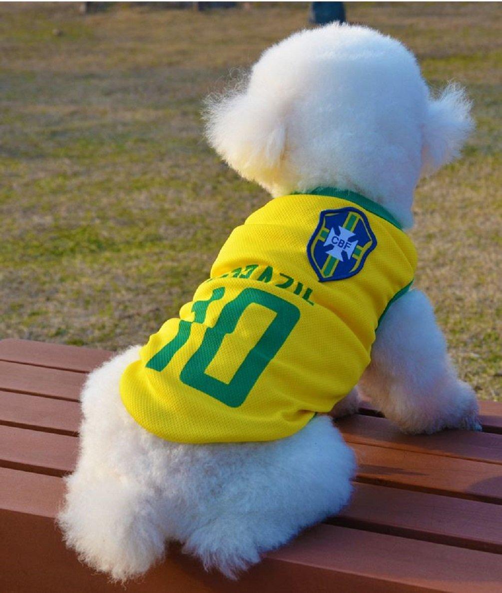 chien V/êtements de football T-shirt pour chiens Costume National Football Coupe du monde de football disponible en 6 tailles Kaymayn pour animal domestique Maillot de football licence Dog Jersey