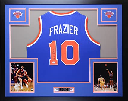 purchase cheap 655c9 b9c1b Walt Frazier Autographed Blue Knicks Jersey - Beautifully ...