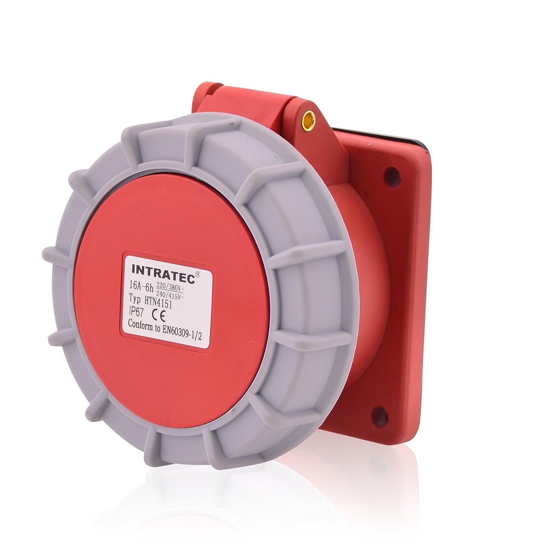 Fiche IEC 60309/Industrie et de plus de phase intratec Prise de montage en courant fort CEE 16/A 400/V 6H Oblique IP67/5/broches 3P + N + E
