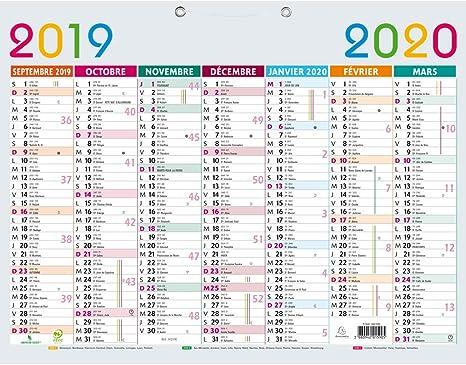 Exacompta 34210e Calendrier Scolaire Multicolore 430x335 Mm Septembre 2019 à Septembre 2020