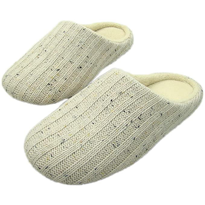 d37da8c33635 Men s Comfort Knitted Cotton Slippers Washable Flat Closed Toe Indoor Shoes  with Non-Slip Sole