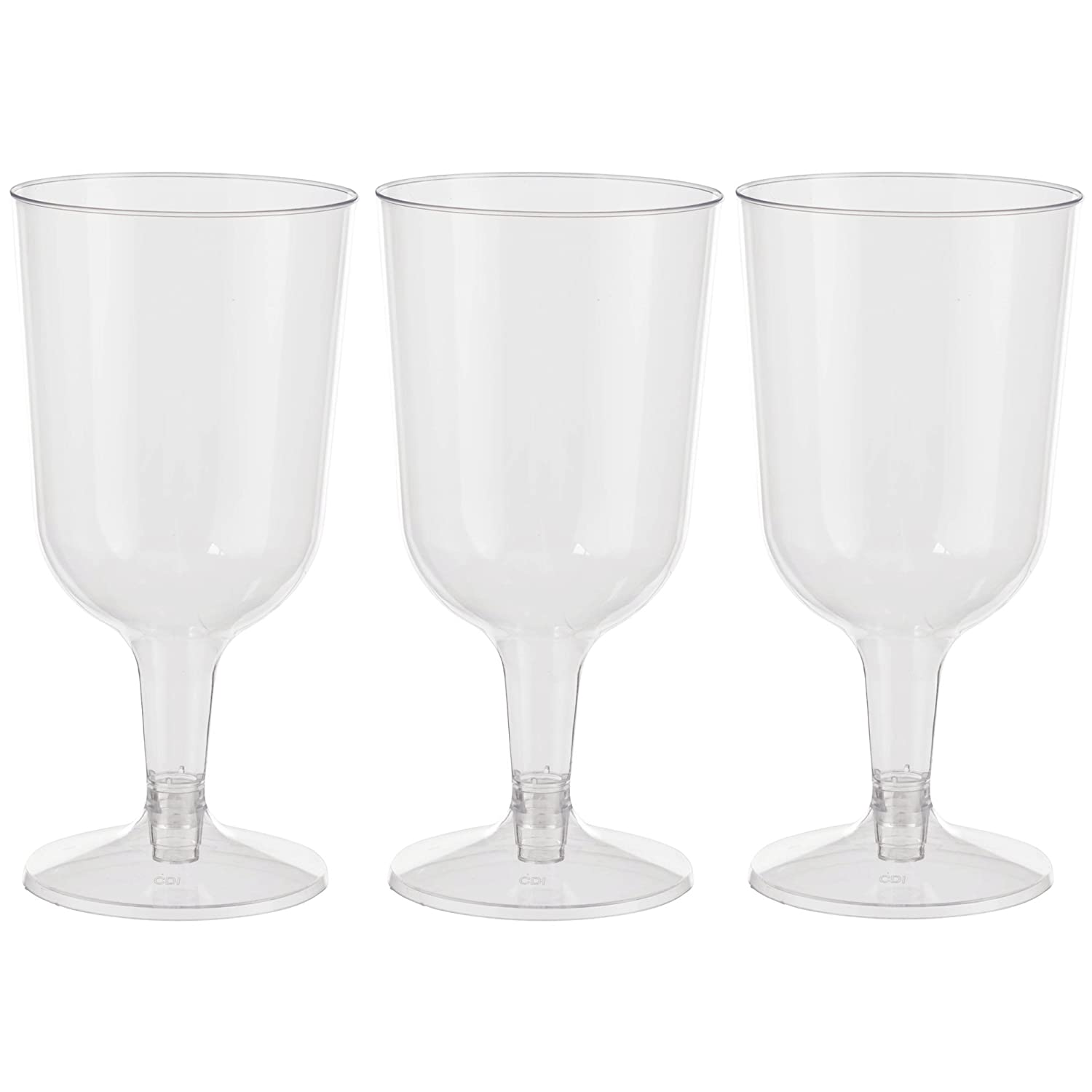 Crown Display COMINHKPR145911 2 Piece Stemmed Plastic Wine Cups Exquisite 6 oz Clear Plastic Wine Glasses 40