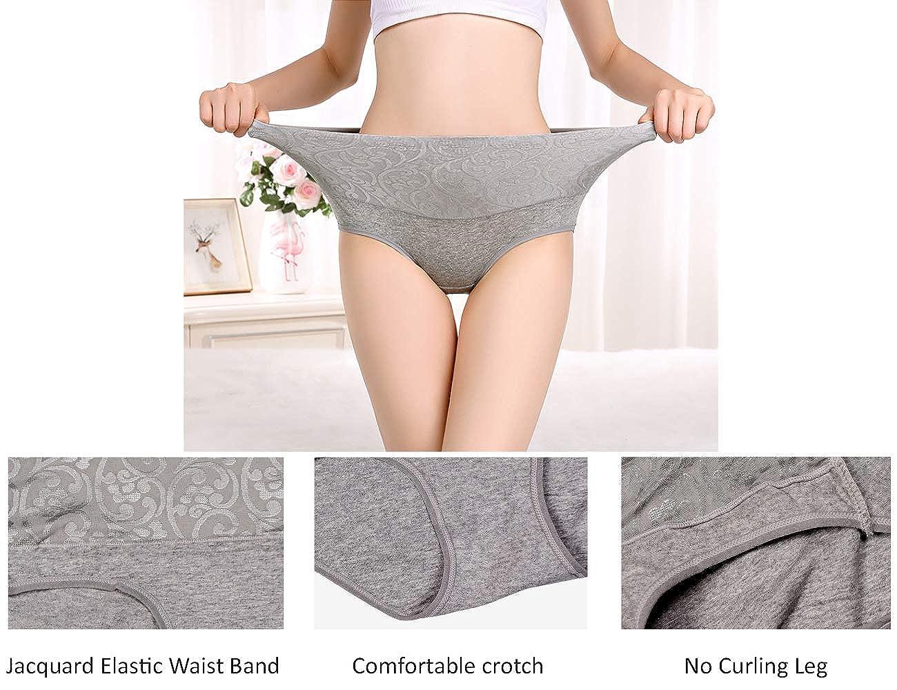 NINGMI Womens Underwear Stretchy Ladies Briefs High Waist Knickers Soft Cotton Panties 5 Pack