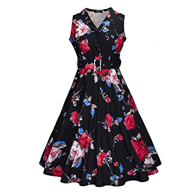 Fairy-Margot Women Summer Vintage Floral Tea Dress Rockabilly V-Neck Midi Dress Retro