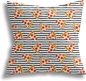AKYUU Pizza Slice Black Stripes Food Square Pillow Covers, Decorative Throw Pillow Cases, Soft Pillowcases for Living Room, Bedroom, Sofa, Bed, 18