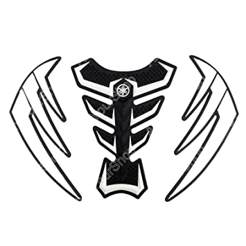 3d Rubber White Black Wings Tank Pad Protector Gas Motorcycle For