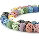 BEADNOVA 8mm Lava Rock Stone Gemstone semi precious stone Beads Round Loose Beads for Jewelry Making Findings Accessories 48~50pcs (8mm x 1 Strand, Mixed Color)