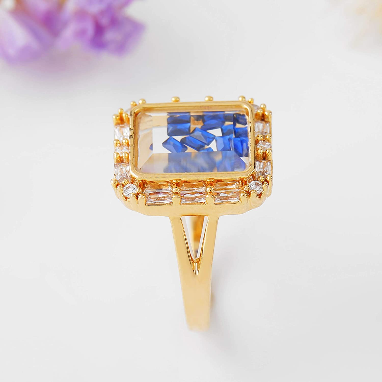 SENTERIA Rings for Women Gold Princess Cut Cubic Zirconia 14K White Gold Plated Brass Cocktail Ring for Teen Girls Mens Bling Ring Jewelry Gifts Packing