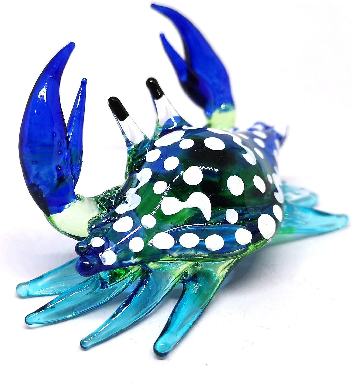 ZOOCRAFT Glass Animals Crab Figurine Blue Hand Blown Painted Art Miniature Coastal Decor Style Spirit Animals