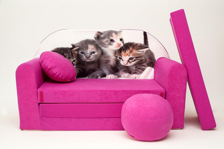 H6 CanapÉ-lit-futon avec pouf-repose-pieds et coussin pour enfant