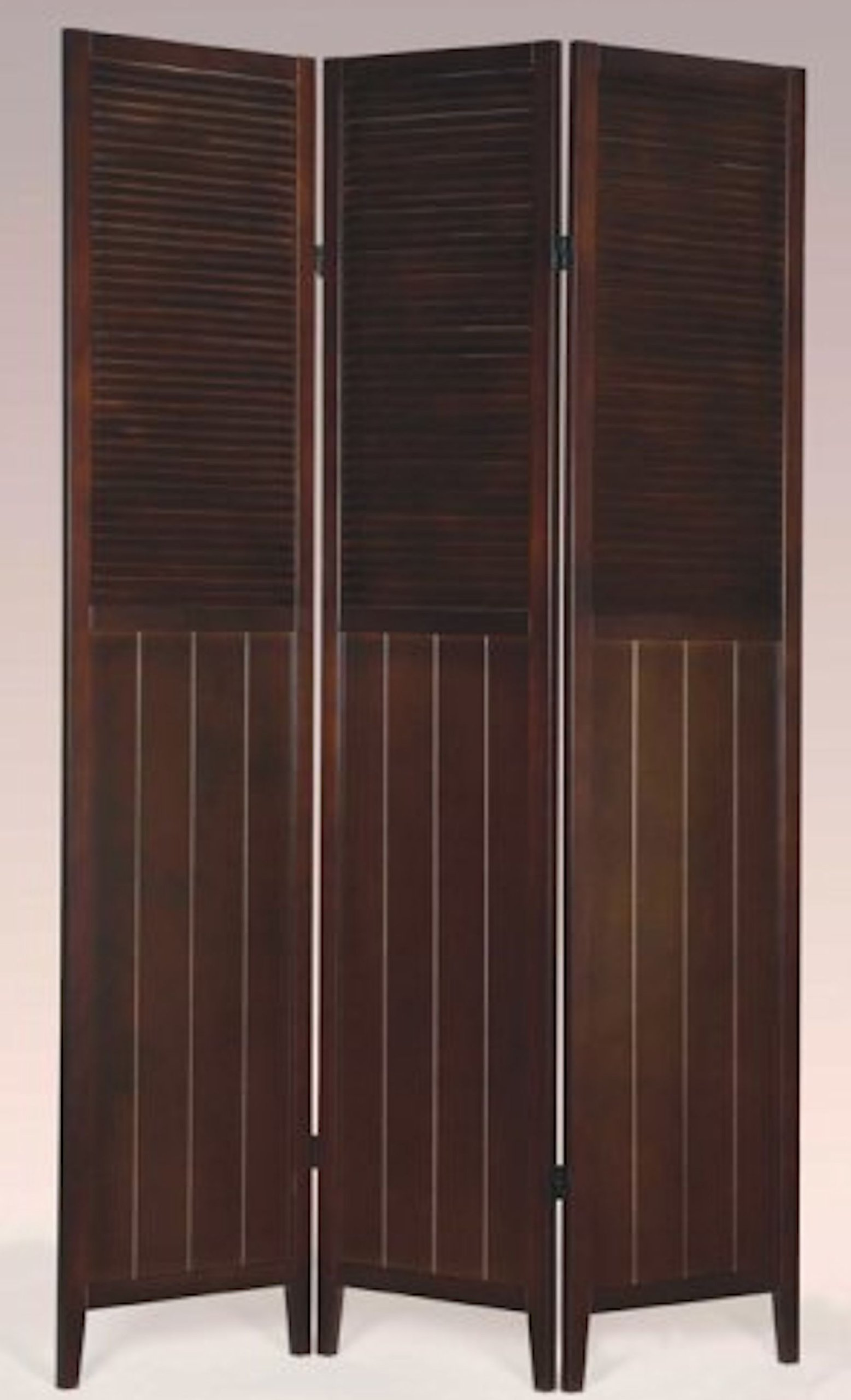 Legacy Decor 3 Panel Wooden Blind Screen, Dividers (Espresso)
