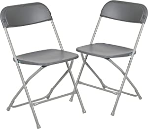 Flash Furniture HERCULES Series 650 lbs capacity Premium Plastic Folding Chair - Gray (2 Pack)