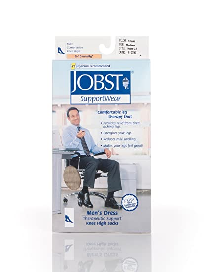 Amazon.com: JOBST Mens Dress Knee High 8-15 Closed Toe Socks, Khaki, Large: Health & Personal Care