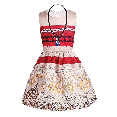 2177ff5b1a9 Freebily Déguisement Princesse Vaïana Enfant Fille Moana Robe de Soirée  Cérémonie Anniversaire   Collier   2