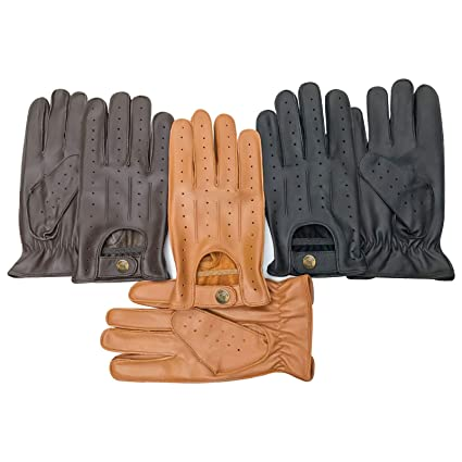 bfff46b9a365b Prime Top quality real soft leather men's driving gloves slim fit design  retro 7011 (Black