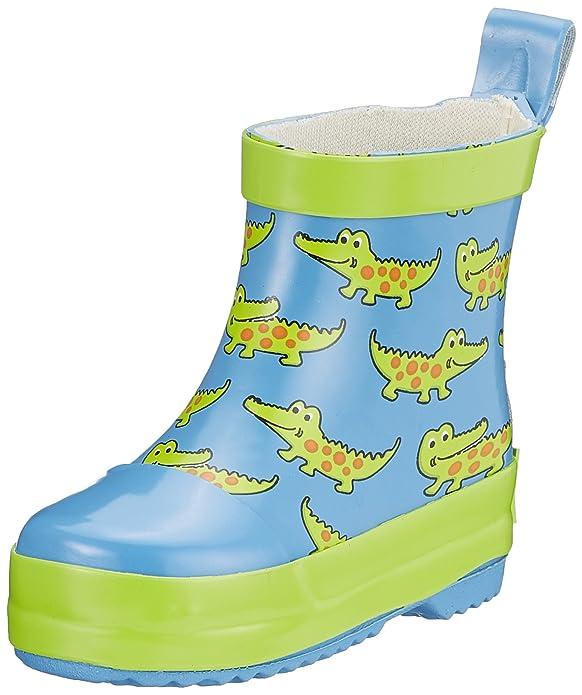 Playshoes Kinder Halbschaft-Gummistiefel aus Naturkautschuk, trendige Unisex Regenstiefel mit Reflektoren, mit Krokodil-Muste