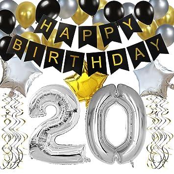 """KUNGYO Clásico Decoración de Cumpleaños -""""Happy Birthday"""" Bandera Negro;Número 20 Globo;Balloon de Látex&Estrella, Colgando Remolinos Partido para el ..."""