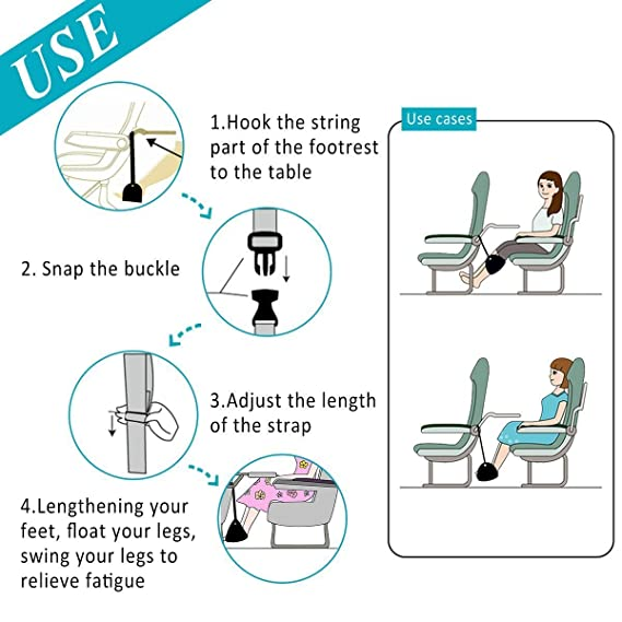 Finlon Airplane Footrest Adjustable Travel Footrest Flight Carry On Foot  Rest Travel Accessories And Office Foot Rests, Best Footrests Hammock For  Office ...