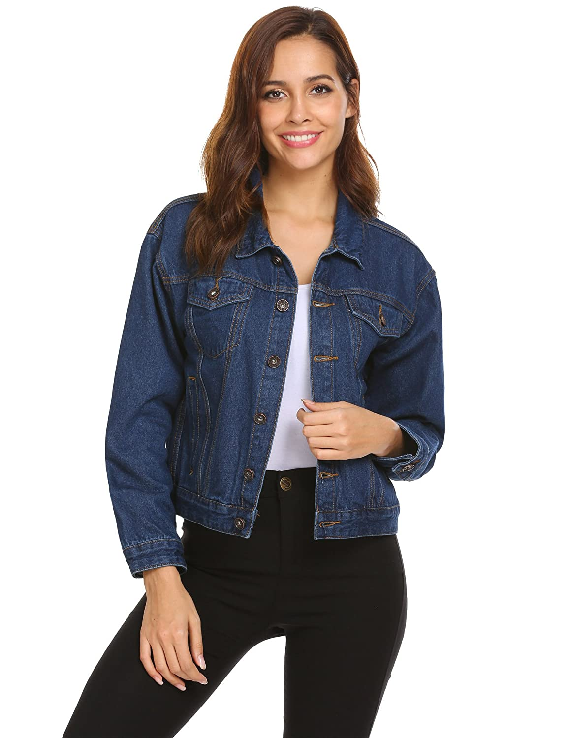 87f9f66551cd Other Jeans are 100% Cotton EASTHER Classic Denim Jean Jacket for  Women.Classic Lapel Button Down Trucker Jacket with lapel, flap button  chest pockets ...