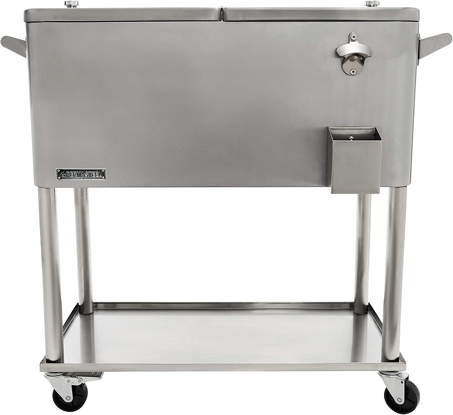 Permasteel PS-206-SS-AM 80 Quart Rolling Patio Cooler with Bottom Tray, Stainless Steel