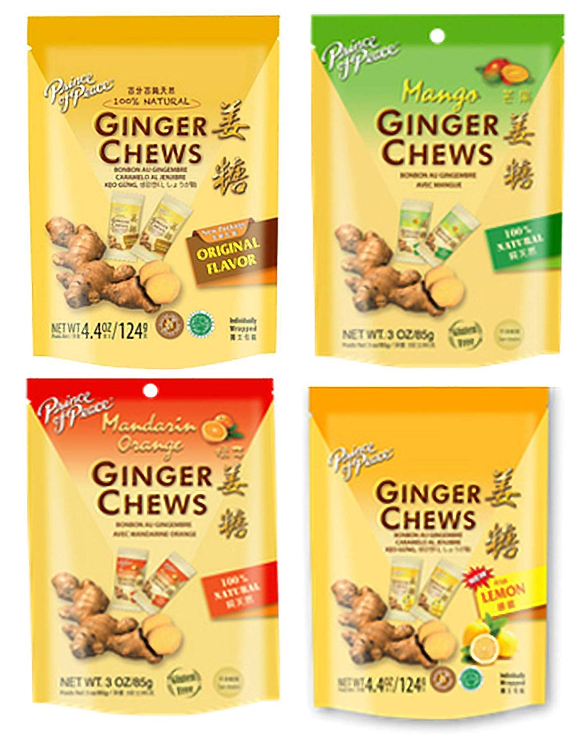 Prince of Peace Ginger Chews Pack of Assorted Flavors by Prince Of Peace