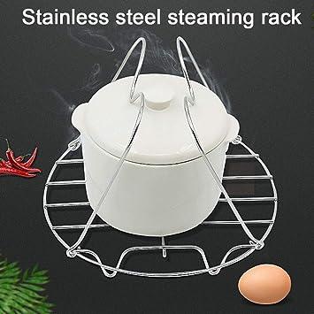 Remaches de vapor con asas, soporte de vapor cesta de acero inoxidable para cocinar alimentos