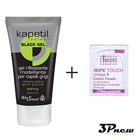 kapetil Black Gel riflessante pelo grises 150 ml + 5 toallitas desechables adjuntan para eliminar restos