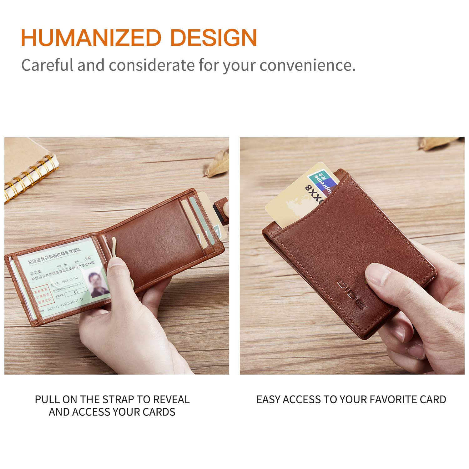 Money Clip Mens Minimalist Front Pocket RFID Blocking Bifold Wallets Leather Credit Card Holder for Men Black
