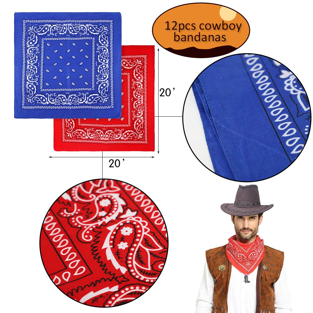 West Cowboy Party Favors Paisley Bracelets,Paisley Bandana for Kids Wild West Cowboy Birthday Bag Filler Toys Gift for Boys Girls Horseshoe Boots Necklace,Temporary Tattoos