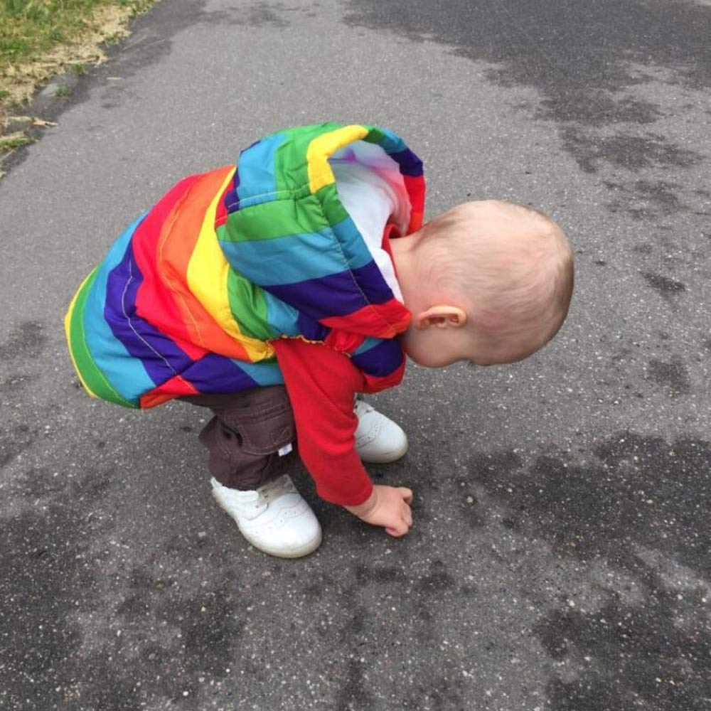 Londony ♪❤ Clearance Sales,Baby Boys Toddler Kids Rainbow Print Vests Coats Fleece Inside Vest Jacket with Hood Londony007