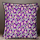 S4Sassy Purple 1 Pair Poker Card Print Cotton Poplin Home Decor Sofa Cushion Cover-12 x 12 Inches