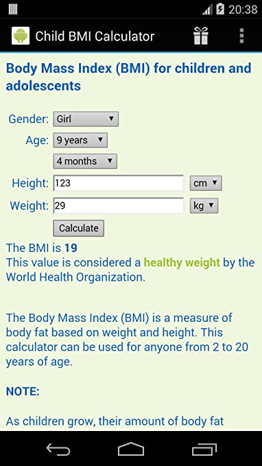 Amazon Child Bmi Calculator Appstore For Android